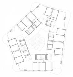 Mehrfamilienhaus Rondo – GraberPulver Plans Architecture, Organic Architecture, Architecture Student, Architecture Drawings, Concept Architecture, Atrium, Block Plan, Hotel Floor Plan, High Rise Building