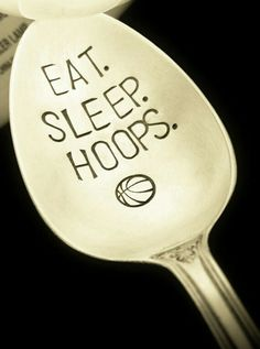 Basketball Gift: EAT SLEEP HOOPS; Coach Sports Fan Gift; March Madness, Game Day Party, Stamped Spoon, Fathers Day, Boyfriend, Customizable