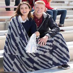 Game Day Stadium Throw- red heart #freepattern #crochet #easy