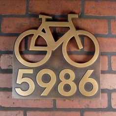Bicycle Addres Sign, Biking Address Numbers, Bike Address Plaque. $225.00, via Etsy.