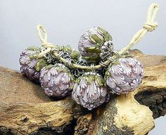GLASSACTCC~Forest Flower Charms~Handmade Lampworked Glass Beads Jewelry SRA Cynthia Tilker