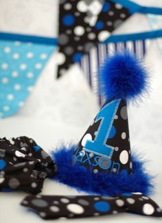 Boys Birthday Party Hat, Diaper Cover and Neck Tie or Bowtie - First Birthday, Smash Cake, Photo Prop - Black, Gray, Blue, White - Lil Rebel. $52.00, via Etsy.