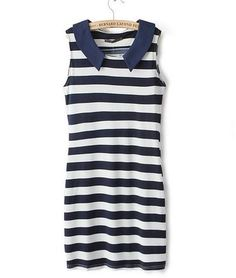 Product Type: tunic with pocket Color:navy blue Shape/Pattern:stripe Neckline: 0 neck with collar Sleeve Length: Sleeveless Texture:soft like silk, stretchable dress Dresses Length: (depends to the user, please check the length) TIP: Perfect gift ...