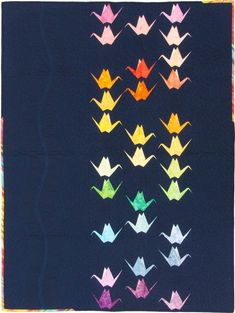 Paper Cranes origami cranes Japanese themed paper piecing pattern by Flying Parrot Quilts