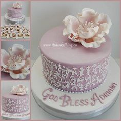 Adriana celebrated her Confirmation, to keep with the same colour theme as her sister Isabella but do something different, we went with a damask style theme. Another special cake for a special girl.