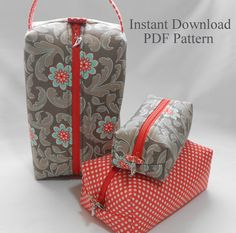 21 ideas for sewing kit box toiletry bag Sewing Projects For Beginners, Sewing Tutorials, Knitting Projects, Makeup Bag Pattern, Diy Makeup Bag, Zipper Pouch Tutorial, Pouch Pattern, Zipper Bags, Toiletry Bag