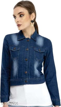 Jackets Aagyeyi Fabulous Women Jacket Fabric: Denim  Sleeve Length: Long Sleeves  Pattern: Solid  Multipack: 1  Sizes:  S (Bust Size: 36 in Length Size: 20 in)  M (Bust Size: 38 in Length Size: 20 in)  L(Bust Size: 40 in Length Size: 20 in)  XL (Bust Size: 42 in Length Size: 20 in) Country of Origin: India Sizes Available: S, M, L, XL   Catalog Rating: ★4.1 (17309)  Catalog Name: Aagyeyi Fabulous Women Jacket CatalogID_1127472 C79-SC1023 Code: 013-7065956-717