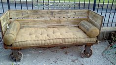 Industrial Rail Cart Couch Indoor/Outdoor by AntiqueModern on Etsy, $1450.00