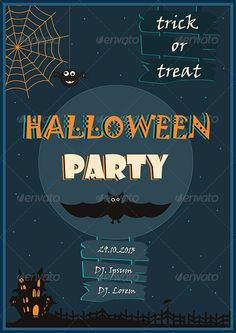 Halloween Poster  #GraphicRiver         Halloween poster designed for Halloween party or any other halloween event.   In this file you will find the .jpg, .eps10, .ai and .psd files.   Free fonts from Microsoft:   - Viner Hand ITC regular - Jokerman regular - Showcard Gothic regular   This poster comes with the initial A3 size (841 X 1190 px) is layered, easy to edit text and colors and can be scalable at any dimensions without loss of resolution.   If you have any questions please feel…