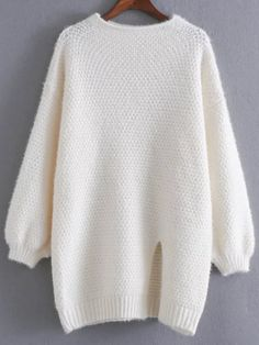 SheIn offers White Front Slit Lantern Sleeve Sweater & more to fit your fashionable needs. Edgy Outfits, Cute Casual Outfits, Outfits For Teens, Pretty Outfits, Fashion Outfits, Kawaii Fashion, Girl Fashion, Korean Outfit Street Styles, Latest Street Fashion