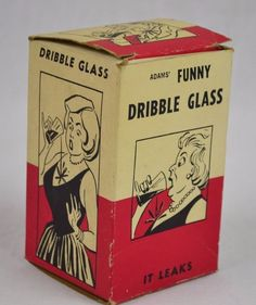 Antique Vintage Adam's Funny Dribble Glass With Box