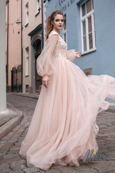V neckline Cap sleeves with detachable puff long sleeves embellishment bodice a line wedding gown milva #weddingdress #weddingdresses #wedding #weddinggown