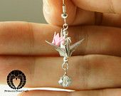 Origami Crane Jewelry, Origami Mom and Baby Crane Earrings, Silver color Mom and Pink Baby