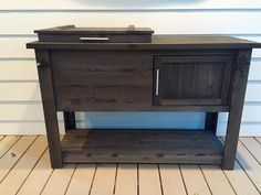 Rustic Wooden Cooler Table Bar Cart Wine Bar with Mini Bar Armoire, Wine Chiller Bucket, Granite, Wooden Cooler, Exterior Stain, Cool Tables, Hardware, Wine Storage, Table Storage