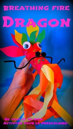 Everything and nothing: Activities for Preschool: Fire breathing dragon with cardboard tube - fire-breathing dragon made with a cardboard roll Chinese New Year Crafts For Kids, Chinese Crafts, Winter Crafts For Kids, Easy Preschool Crafts, Creative Activities For Kids, Kids Crafts, Craft Kids, Preschool Ideas, Learning Activities