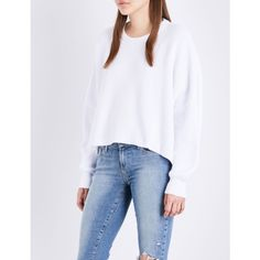 FREE PEOPLE Festival Pier cotton jumper ($40) ❤ liked on Polyvore featuring tops, sweaters, oversized sweaters, oversized jumper, drop shoulder sweater, free people tops and loose fit sweater