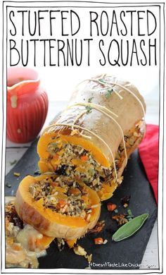 Stuffed Roasted Butternut Squash - - The perfect vegan centrepiece main dish. Stuffed with super flavourful wild rice, cranberries, walnuts, and sage filling. Can be made up to 3 days ahead of time and warmed up be Vegan Foods, Vegan Dishes, Vegan Meals, Paleo Diet, Whole Food Recipes, Cooking Recipes, Healthy Recipes, Recipes Dinner, Easy Cooking