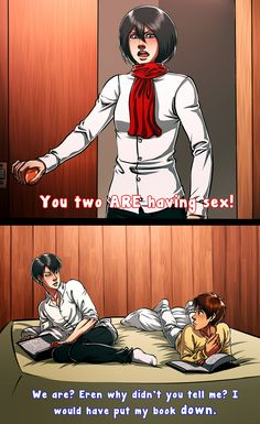 Lol~ (Shingeki no Kyojin X Rosanne). I don't like eren x Levi. But this is still funny