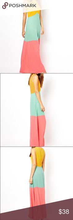 Jarlo colorblock Maxi dress Jarlo by ASOS, Maxi Dress. NWOT Designed in London. 100% polyester. Striped colour block in Yellow, Mint and Coral. UK Size 12  - USA Size 8 (it will also fit size 6) This dress will make you look leaner!!! I never wore it but I am listing it as used because I removed the tags. Good length for tall ladies ASOS Dresses Maxi