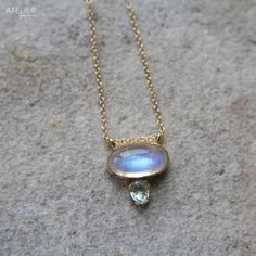 Moonstone & Blue Topaz in Solid 14kt Gold by ATELIER Gaby Marcos
