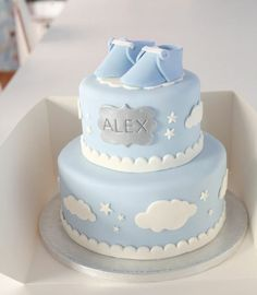pies-to-christening-suse-pie-to-baptism-a-baby-boy-blue - Kinder torten - Baby Shower Cakes For Boys, Baby Shower Parties, Baby Shower Themes, Baby Boy Shower, Unique Baby Shower Cakes, Baby Cakes, Deco Buffet, Celebration Cakes, Christening