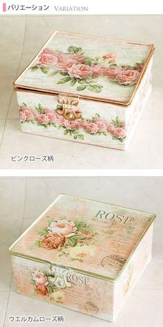 薔薇のフタ付きブリキスクエア収納ボックス・小物入れ薔薇雑貨姫系雑貨花柄