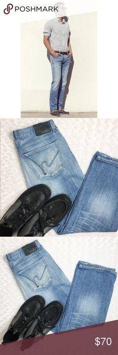"C.O.H 'Core' Slim Straight Leg Jeans in Northbend Citizens of Humanity Core' Slim Straight Leg Jeans in Northbend light blue stonewash. Five-pocket style, and zip fly with button closure. The light blue stonewash distinguishes the classic vintage look of slim fitting tailored jeans with an easy comfortable fit in the seat and thighs. Flat waist measures 17.5"" and inseam is 29"". Slight signs of wear only add to the sought after ""lived in"" look. Citizens Of Humanity Jeans Slim Straight"
