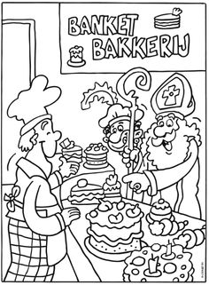 In de bakkerij Crafts For Kids, Arts And Crafts, Christmas Colors, Kids Playing, Coloring Pages, December, School, Comics, Children