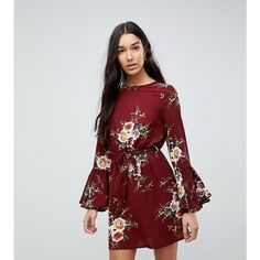 Parisan Tall High Neck Floral Dress With Tie Waist and Flare Sleeve ($36) ❤ liked on Polyvore featuring dresses, red, flared sleeve dress, floral day dress, tall dresses, flower print dress and red floral dress