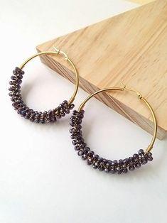 MAXI-CANDONGAS MORADAS Fabric Earrings, Hoop Earrings, Wire Jewelry Making, Homemade Jewelry, Indian Dresses, Diy Art, Womens Fashion, Bracelets, Handmade