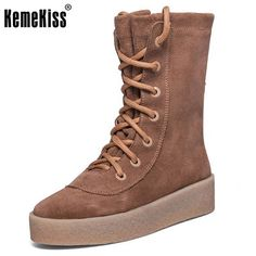 52.95$  Watch now - http://alib9s.worldwells.pw/go.php?t=32738553809 - Women Ankle Boots Genuine Leather Round Toe Casual Flat Heels Lace Up Fashion Riding Botines Mujer Boots Women Shoes Size 34-39