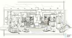VM Sketch by Faith Bartrug Design for Neiman Marcus #VM #retaildesign #visualmerchandisingsketch