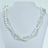 Crystal and Pearl Twist Necklace