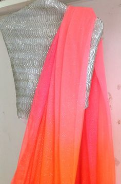 Multicolor pink and orange chiffon saree with sequin unstitched blouse Indian Attire, Indian Ethnic Wear, Indian Outfits, Plain Chiffon Saree, Plain Saree, Fancy Sarees, Party Wear Sarees, Indian Sarees, Pakistani Mehndi