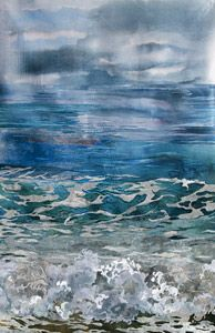 Water's Edge with Turquoise Sea fabric collage by Amanda Richardson