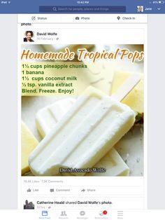 Frozen Desserts, No Bake Desserts, Freeze Pops, Coconut Milk, Kids Meals, Healthy Snacks, Sweet Tooth, Pineapple, Avocado