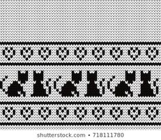 Cross Stitch Borders Knitted seamless border cats and hearts - Fair Isle Knitting Patterns, Knitting Charts, Sweater Knitting Patterns, Loom Knitting, Knitting Stitches, Baby Knitting, Knitting Machine, Free Knitting, Embroidery Flowers Pattern