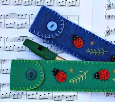 Tin whistle recorder case Felt ladybird by PuffinPatchwork on Etsy, $26.00