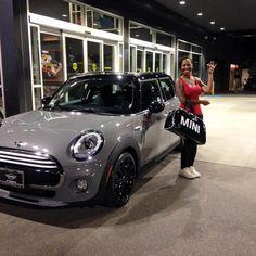 Mrs. Hardy is beyond excited for her brand new 2015 MINI COOPER 4 DOOR HARDTOP in Moonwalk Gray! Motoring Advisor James Jarvis.