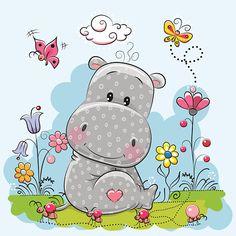 Cute Cartoon Hippo - ilustração de arte em vetor