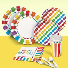 Brighten up your party with this Rainbow Birthday Basic Party Pack featuring rainbow stripes and polka dots on the plates, cups and napkins.