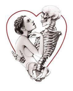 Tarot Print - Lovers By Gemma Compton: Category: Art Currency: GBP Price: Retail Price: 'Tarot Print - Lovers' is a striking… Skeleton Tattoos, Skeleton Art, Skeleton Bones, Day Of The Dead Art, Dark Love, Danse Macabre, Street Art Graffiti, Love Painting, Horror Art