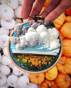 Russian artist Vera Shimunia's creates incredible embroidery art depicting landscapes with three-dimensional textile clouds. Pink sunsets and swirling stormy skies are depicted with a myriad of multi-colored stitches and cotton candy-like balls of wool. Acai Bowl, Coin Purse, Coins, Purses, Wallet, Food, Handbags, Pocket Wallet, Coining