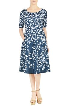 Leaf print fit-and-flare crepe dress from eShakti -- for this summer's wedding?