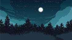 Find Forest Landscape Flat Color Illustration Night stock images in HD and millions of other royalty-free stock photos, illustrations and vectors in the Shutterstock collection. Landscape Wallpaper, Night Painting, Night Landscape, Desktop Wallpaper Art, Night Art, Digital Art Illustration, Forest Painting, Art Wallpaper, Night Illustration