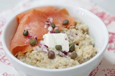 The Alaskan: Try smoked salmon, cream cheese, capers, and fine red onion for a delightful breakfast. #BRMOatmeal