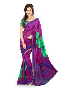 Yehii's georgette festive purple saree with turquoise and blue color cast and has floral print. It also includes turquoise georgette blouse. This embellished border which makes this ethnic wear outrageous. Cultural impact with festive trend and enhances the soothing beauty of the gorgeous ladies. The combination of beauty and charm makes this saree loveable. http://www.addsharesale.com/