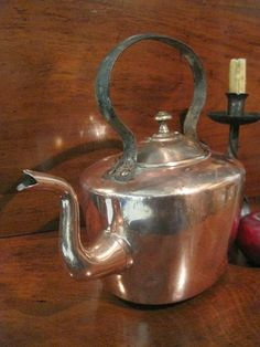 A House Romance: Decorative and Hard- Working Copper - Circa 1800 dovetailed wrought iron copper tea kettle. Copper Pots, Copper And Brass, Bronze, Copper Tea Kettle, Coffee Equipment, How To Make Coffee, Antique Paint, Kitchen Handles, Wrought Iron