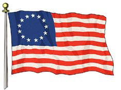 """Betsy Ross Flag - The """"Unofficial"""" First Flag of the United States - 1776  Since there was no official United States Flag for the first year after the signing of the Declaration of Independence, there were a great number of homespun flag designs. This flag is without question the most well known of those."""