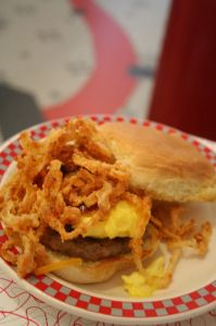 Breakfast slider with eggs and sausage from Sloopy's Diner on Ohio State's Campus in Columbus, Ohio